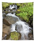 Water Cascading Over Rocks, Mount Hood Tapestry