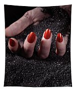 Woman Hand With Red Nails On Black Sand Tapestry