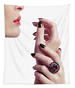 Woman Hands And Lips Tapestry