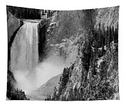 Yellowstone Waterfalls In Black And White Tapestry