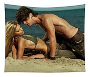 Young Couple On The Beach Tapestry