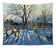 Fun In The Snow Tapestry