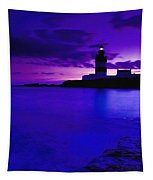 Lighthouse Beacon At Night Tapestry