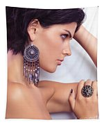 Portrait Of A Beautiful Woman Wearing Jewellery Tapestry