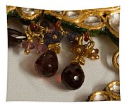 3 Hanging Semi-precious Stones Attached To A Green And Gold Necklace Tapestry