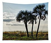3 Palms On The Beach Tapestry