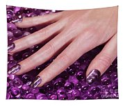 Woman Hand With Purple Nail Polish Tapestry