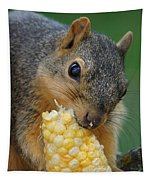 Squirrel Eating Sweet Corn Tapestry