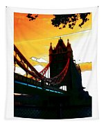 Sunset At Tower Brigde Tapestry
