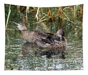 Teal Ducks Tapestry
