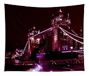 Tower Bridge And The Girl And Dolphin Statue  Tapestry