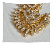A Beautiful Gold And Diamond Pendant On A White Background Tapestry