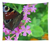 A Butterfly On The Pink Flower 2 Tapestry