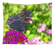 A Butterfly On The Pink Flower Tapestry