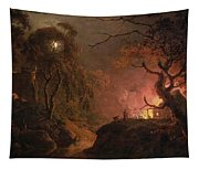 A Cottage On Fire At Night Tapestry