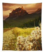 A Country Road With A Mountain In The Tapestry