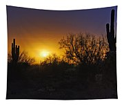 A Golden Saguaro Sunrise Tapestry