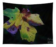 A Leaf Left Black And Blue  Tapestry