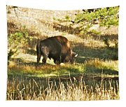 A Lone Bison In Yellowstone 9467 Tapestry