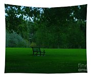 A Lonely Autumn Bench  Tapestry