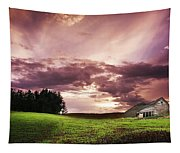 A Lonely Farm Building In An Open Field Tapestry