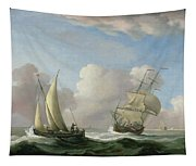 A Man-o'-war In A Swell And A Sailing Boat Tapestry