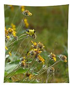 A Pair Of Goldfinches In Spokane Tapestry