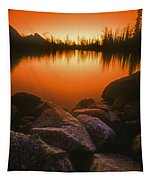 A Pond At Sunset, British Columbia Tapestry