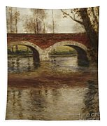 A River Landscape With A Bridge  Tapestry