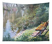 A Rose On The Bench Tapestry