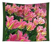 A Sea Of Pink Tulips. Square Format Tapestry