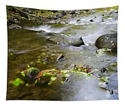 A Small Dam Of Golden Leaves  Tapestry