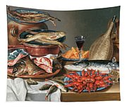 A Still Life Of A Fish Trout And Baby Lobsters Tapestry