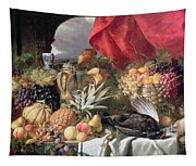 A Still Life Of Game Birds And Numerous Fruits Tapestry