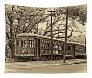 A Streetcar Named St. Charles Sepia Tapestry