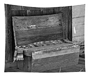 A Weathered Bench Black And White Tapestry