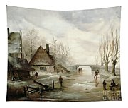 A Winter Landscape With Figures Skating Tapestry