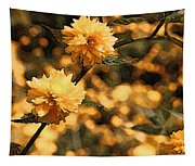 Abstract Of Yellow Flowers Tapestry