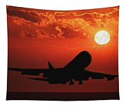 Airplane Landing At Sunset Tapestry