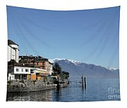 Alpine Village On The Lake Front Tapestry
