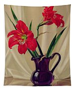 Amaryllis Lillies In A Dark Glass Jug Tapestry