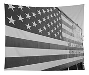 American Flag At Nathan's In Black And White Tapestry