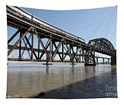 Amtrak Train Riding Atop The Benicia-martinez Train Bridge In California - 5d18829 Tapestry