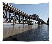 Amtrak Train Riding Atop The Benicia-martinez Train Bridge In California - 5d18830 Tapestry