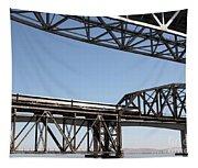 Amtrak Train Riding Atop The Benicia-martinez Train Bridge In California - 5d18835 Tapestry
