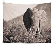 An Elephant Walking In The Bush Samburu Tapestry