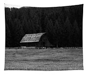 An Old Barn In Black And White Tapestry