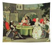 An Ornamental Garden With Elegant Figures Seated Around A Card Table Tapestry