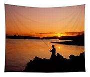 Angler At Sunset, Roaring Water Bay, Co Tapestry