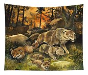 Animals United In Terror As They Flee From A Forest Fire Tapestry